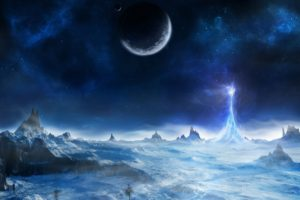 space, Fantasy art, Moon, Planet