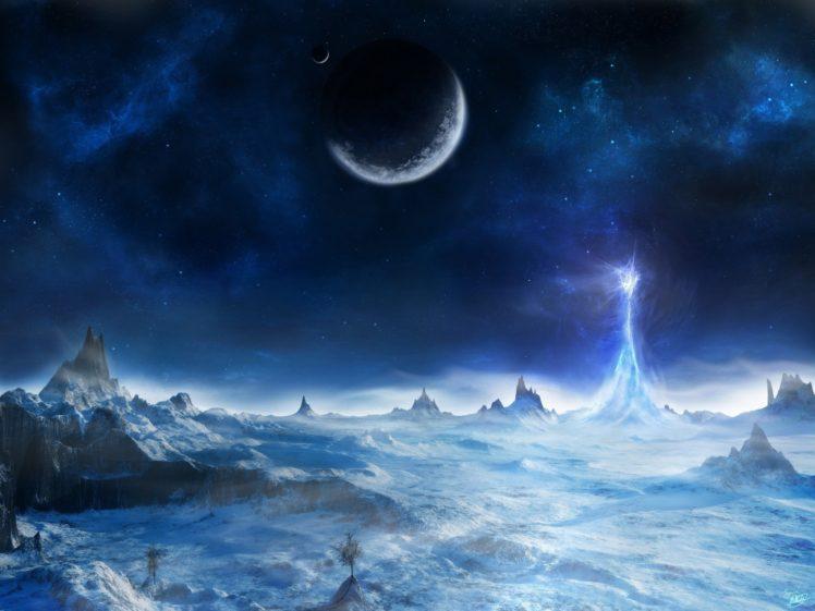 space, Fantasy art, Moon, Planet HD Wallpaper Desktop Background