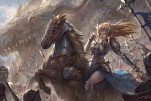 warrior, Fantasy art, Dragon, Army
