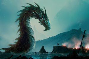 fantasy art, Water, Dragon