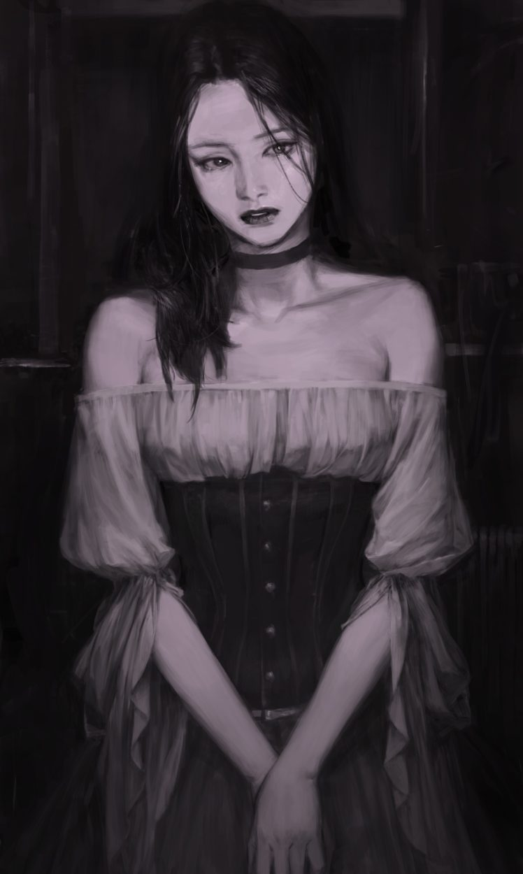 women, Fantasy art, Monochrome HD Wallpaper Desktop Background