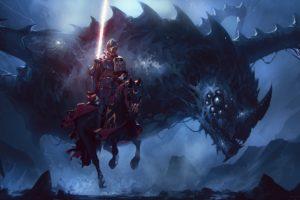 warrior, Fantasy art, Dragon