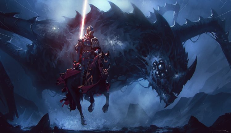 warrior, Fantasy art, Dragon HD Wallpaper Desktop Background