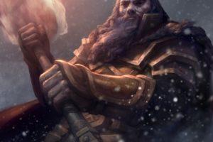 warrior, Hammer, Fire, Fantasy art