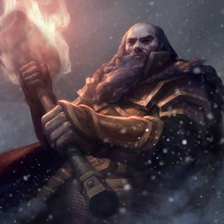 warrior, Hammer, Fire, Fantasy art HD Wallpaper Desktop Background