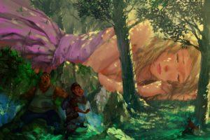 fantasy art, Giant, Fantasy girl