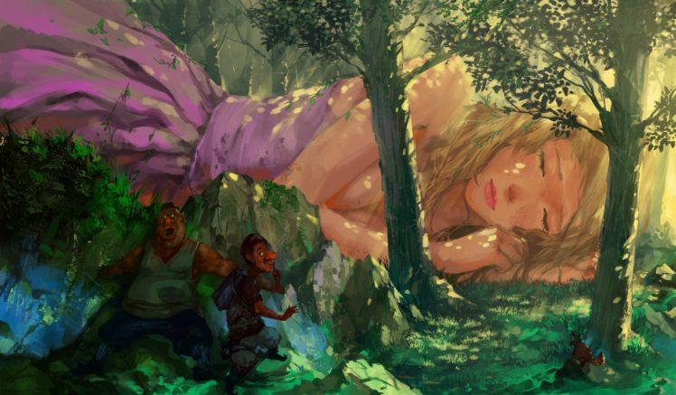 fantasy art, Giant, Fantasy girl HD Wallpaper Desktop Background