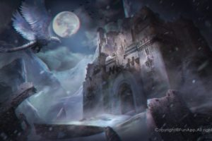 fantasy art, Castle, Dragon