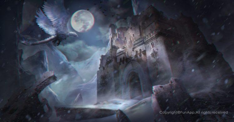 fantasy art, Castle, Dragon HD Wallpaper Desktop Background