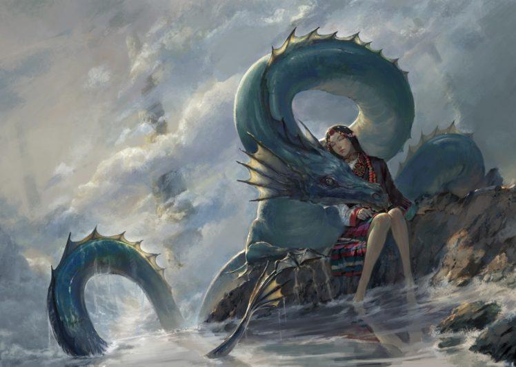 water, Fantasy art, Dragon HD Wallpaper Desktop Background