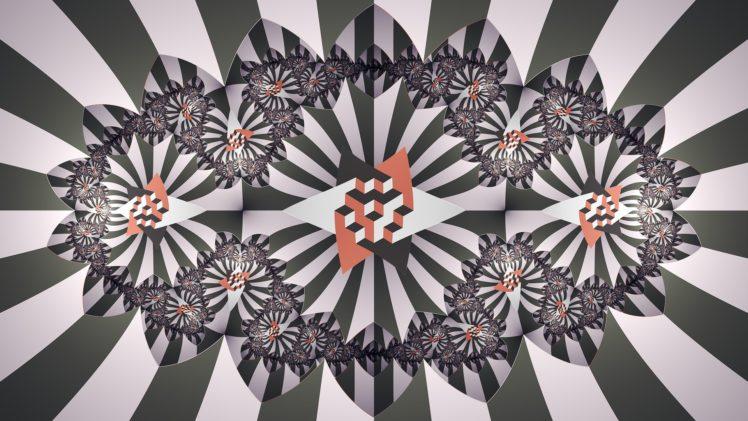 vector, Symmetry, Abstract, Square, Black, Red, White, Digital art, Artwork, Fractal HD Wallpaper Desktop Background