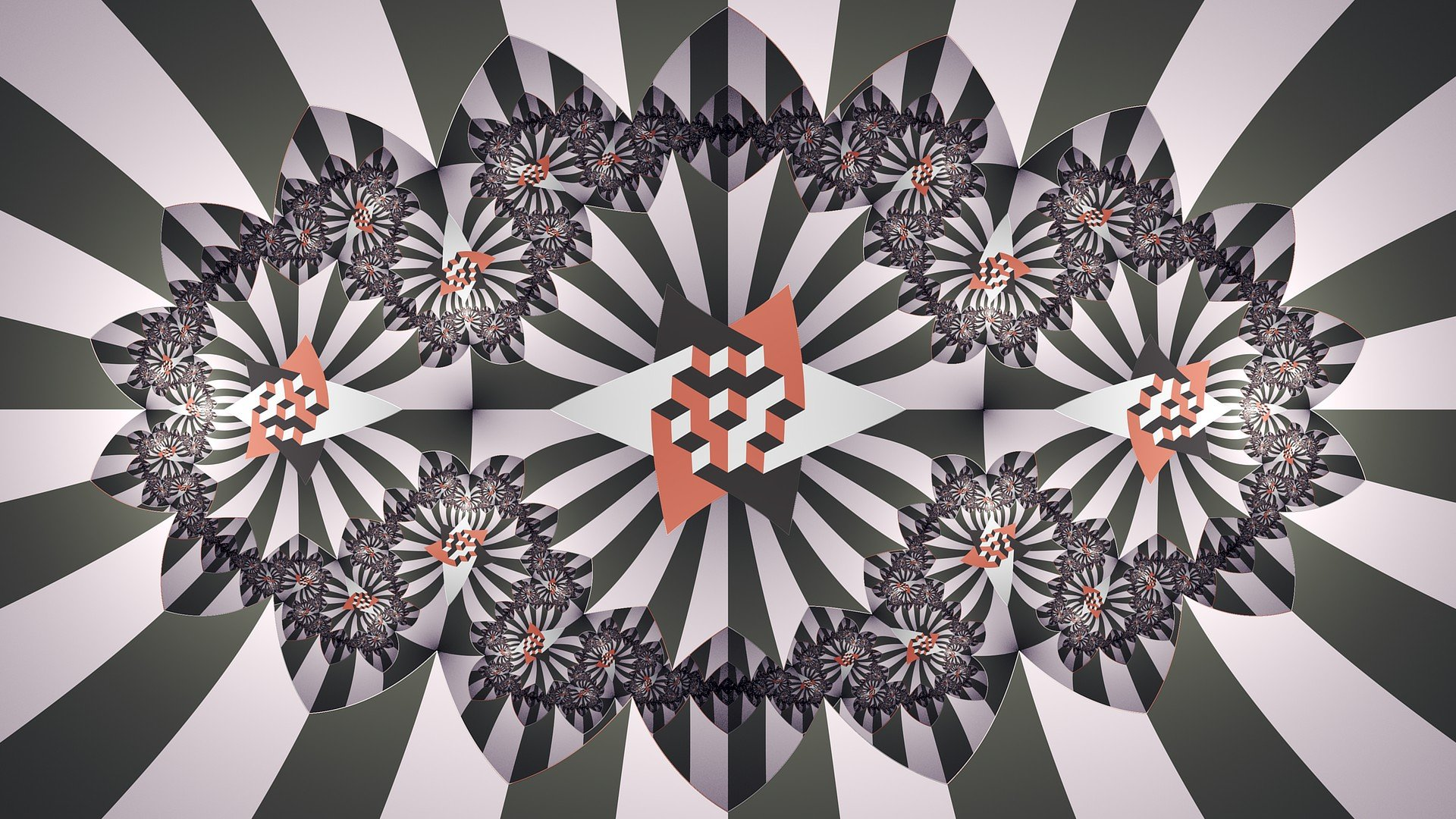Vector symmetry abstract square black red white - Digital art wallpaper 3840x1080 ...