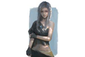 elves, WLOP, Bare shoulders, Artwork, Fantasy art, Painting, Simple background, Fantasy girl