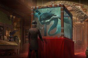 men, Artwork, Museum, Aquarium, Hat, Fantasy art