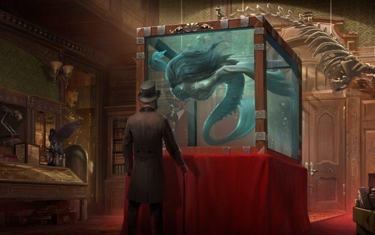 men, Artwork, Museum, Aquarium, Hat, Fantasy art HD Wallpaper Desktop Background