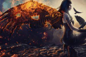 fantasy art, Fire, Birds, Fantasy girl
