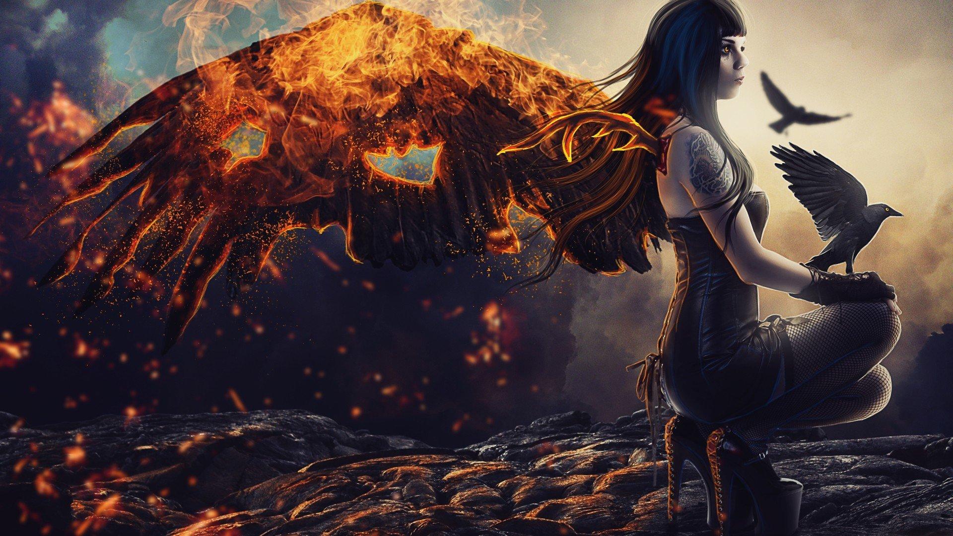 fantasy art, Fire, Birds, Fantasy girl Wallpaper