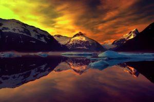 landscape, Lake, Snow, Mountains, Nature