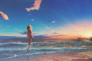 beach, Sunset, Waves, Shore, Wind, Birds, Sea, Horizon, Digital art, Photo manipulation