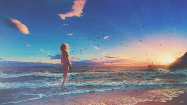 beach, Sunset, Waves, Shore, Wind, Birds, Sea, Horizon, Digital art, Photo manipulation HD Wallpaper Desktop Background