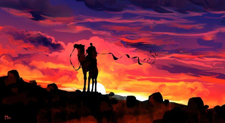 illustration, Fantasy art, Sunset, Artwork HD Wallpaper Desktop Background