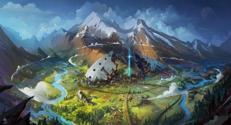 illustration, Fantasy art, Mountains, Artwork, Snow HD Wallpaper Desktop Background