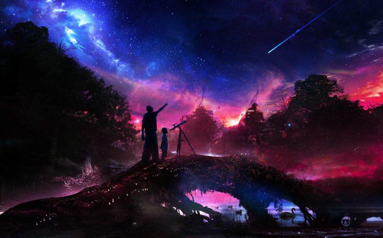 illustration, Fantasy art, Stars, Artwork, Space HD Wallpaper Desktop Background