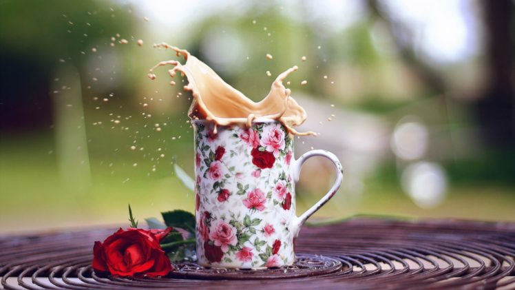 Rose Flowers Cup Coffee Hd Wallpapers Desktop And Mobile Images