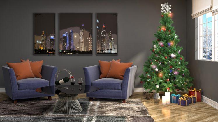 Christmas Tree, Christmas, Interior HD Wallpaper Desktop Background