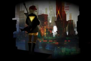 Red (Transistor), Singer, Redhead, Transistor, Red, Transistors, Motorcycle, Sailing ship, Sword, Yellow, Yellow dress, Cityscape, City, Bridge, Black, Shadow