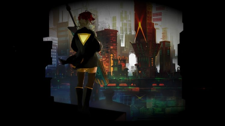 Red (Transistor), Singer, Redhead, Transistor, Red, Transistors, Motorcycle, Sailing ship, Sword, Yellow, Yellow dress, Cityscape, City, Bridge, Black, Shadow HD Wallpaper Desktop Background