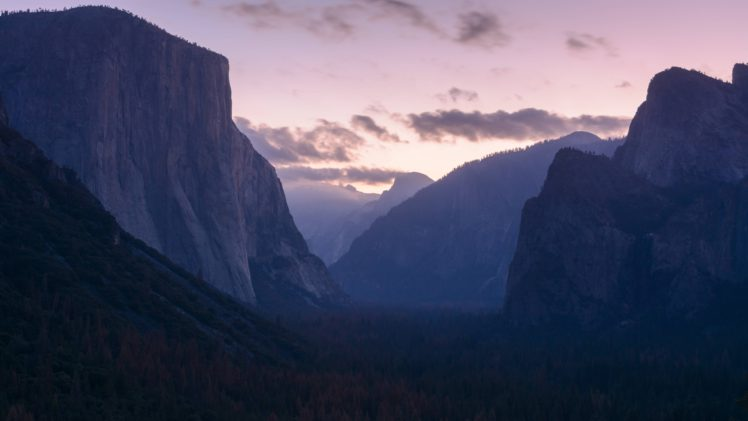 landscape, Sunset, Mountains, Forest, Yosemite National Park HD Wallpaper Desktop Background