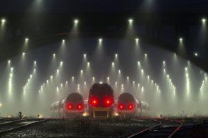 train, Mist, Transport, Railway, Lights, Denmark