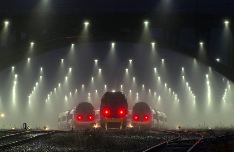 train, Mist, Transport, Railway, Lights, Denmark HD Wallpaper Desktop Background