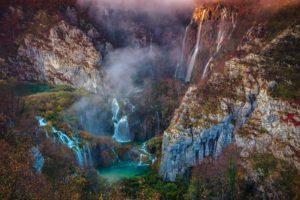 landscape, Mountains, Waterfall