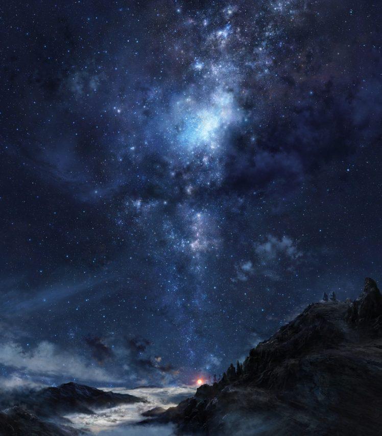stars, Galaxy, Clouds, Sky, Nebula, Mountains, Night HD Wallpaper Desktop Background