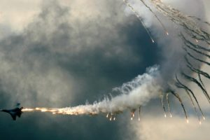 smoke, Sky, Clouds, Fire, Sukhoi Su 27