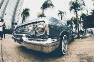 car, Vehicle, Lowrider, City, Palm trees