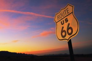 Route 66, USA, Signal, Sunset, Evening, Landscape
