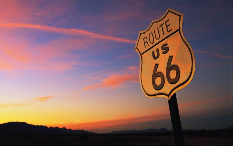 Route 66 Usa Signal Sunset Evening Landscape Hd