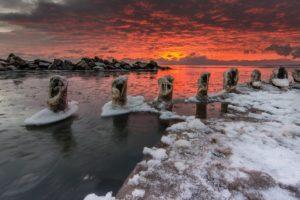 winter, Sky, Sunlight, Clouds, Landscape, Nature