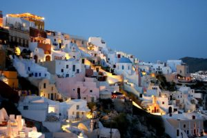 Santorini, Greece, Building, House, Cityscape, City, Urban, Sunset, Evening, Lights