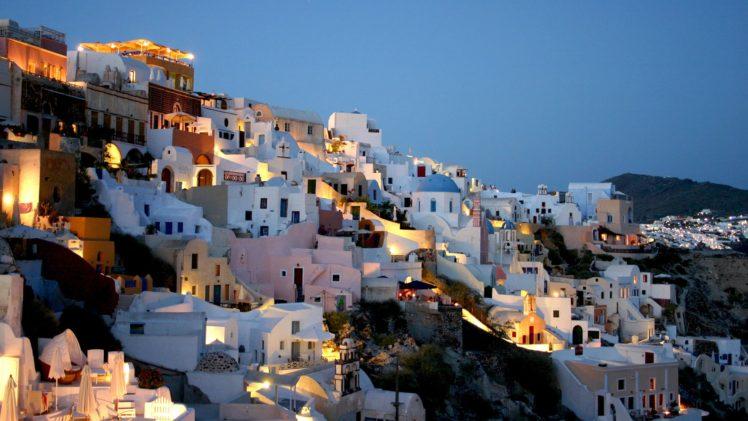 Santorini, Greece, Building, House, Cityscape, City, Urban, Sunset, Evening, Lights HD Wallpaper Desktop Background