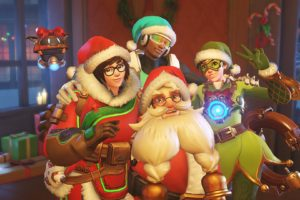 Lúcio (Overwatch), Torbjörn (Overwatch), McCree (Overwatch), Overwatch, Snow, Mei (Overwatch), Holiday, Santa hats, Tracer (Overwatch)