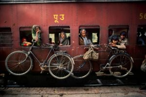 Steve McCurry, People, Photographer, India, Train station, Train, Bicycle, Photography