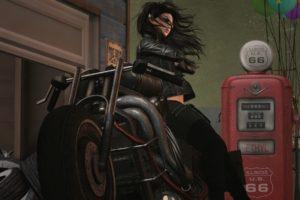 women, Artwork, Motorcycle
