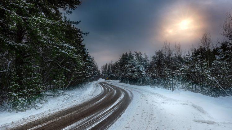 road, Winter, Landscape, Nature HD Wallpaper Desktop Background