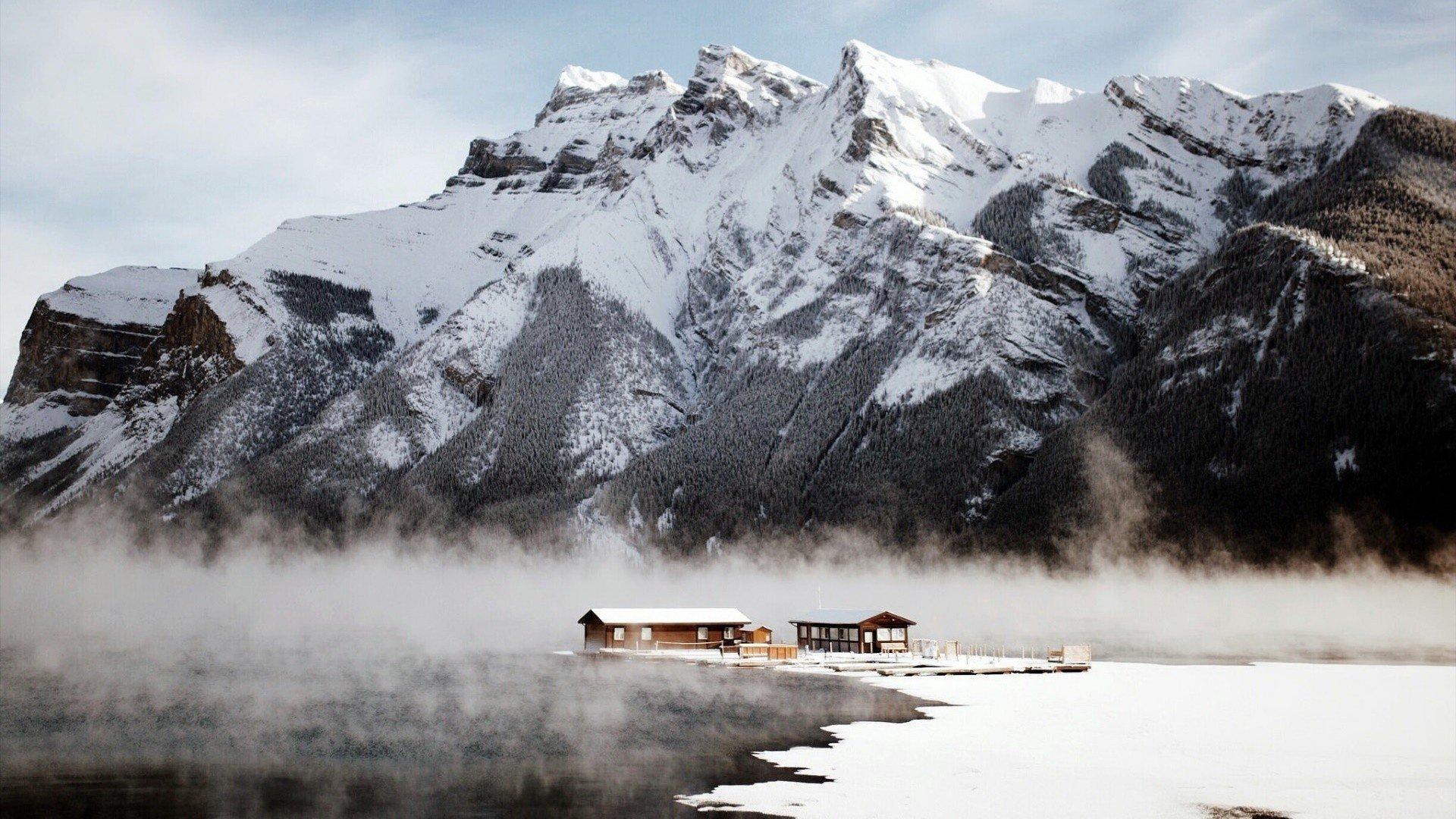 Canada Mountains Snow Winter Nature Landscape Hd