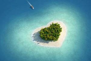 heart shaped, Island, Tropical