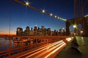 New York City, Bridge, Long exposure, Clear sky, Evening, Lights